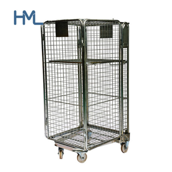 European Supermarket Galvanized Collapsible Security Storage Nesting Metal Wire Mesh Roll Cage Container