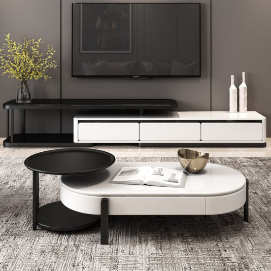 China Small Unit Furniture 2019 Fashion Simple Nordic Style Classical Black White Practical Modern Living Room Creative Liftable Oval Round Coffee Table China Oval Round Coffee Table Liftable Coffee Table