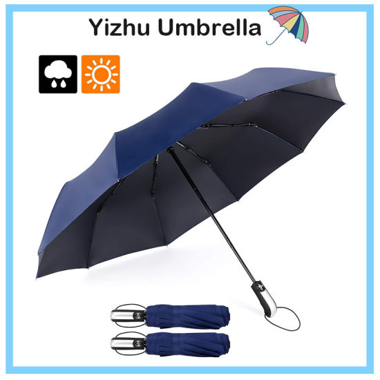 Durable Windproof Travel Umbrella Auto Open /& Close with Teflon Coating 10 Ribs Black Sun /& Rain Folding Umbrella for Men//Women Light-Weight /& Compact