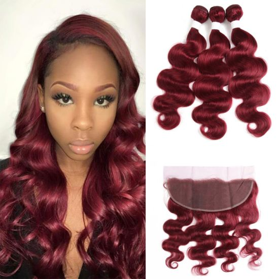 Factory Price Body Wave Human Hair Bundles with Frontal 13X4 Brazilian Red Color Hair Bundles with Closure Remy Hair #99j