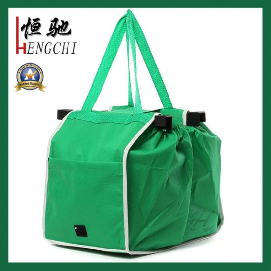 93bb9234c407 China Promotional Easy Carry Foldable Shopping Bag Clip on Trolley ...