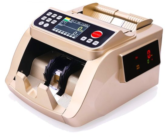 5528 Gold Double Colour Sensor Mg UV IR Money Counter Banknote Money Bill Counter for USD, Euro Dollars, Ponds, Indian Rupee, Uzbekistan Som, etc