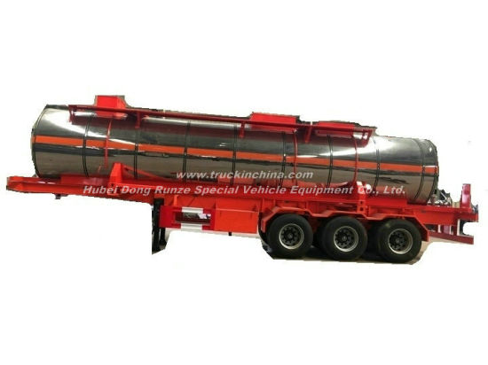 Emulsion Tank Container Trailer Liquid Molten Sulfur Transport Solution Insulated Cladding Stainless Steel Tank Body Can Be Unloaded Trailer