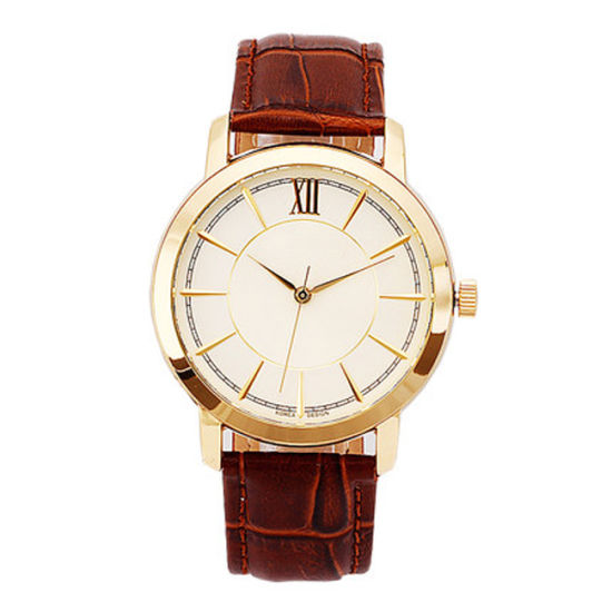 Alloy Material Leather Strap Men Watch 3ATM Water Resistant Feature Quartz Movement pictures & photos