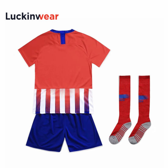 Purple Soccer Uniform Kids Youth Football Jersey Custom Logo Shirt with Shorts pictures & photos