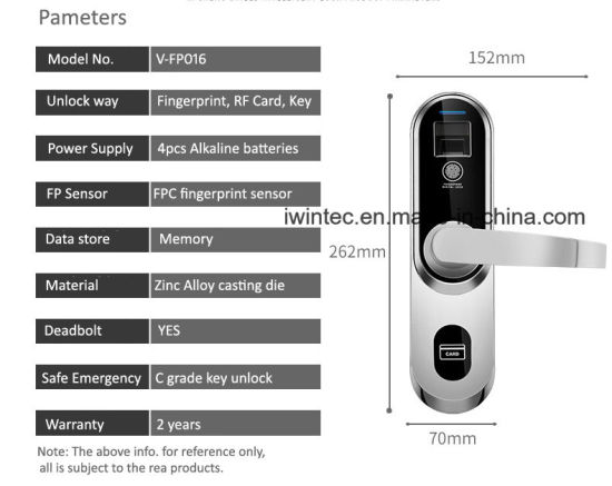 Inside Room Door Fingerprint Lock, Digital Fingerprint Door Lock, Keyless Fingerprint Lock pictures & photos