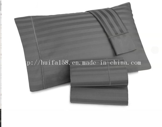 Hotel Line 1500 Thread Count Deep Pocket Stripe Microfiber Fabric Bed Sheet Set