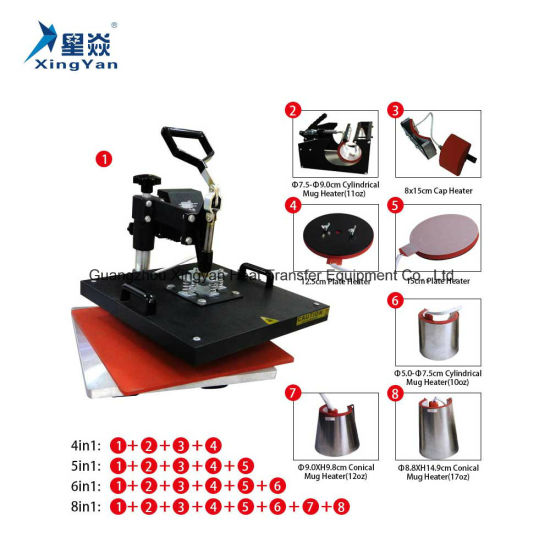 Combo Heat Press Machine (4 in 1) for Printing T-Shirt/Cup/Plate/ Hat/Shoes/Gloves/Mug/Cap pictures & photos