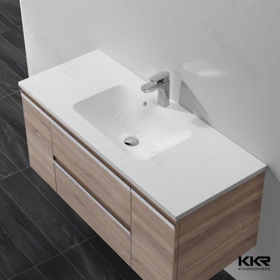 New White Solid Surface Cabinet Wash Hand Basin (180711)