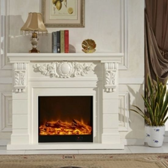 China Hot Selling Indoor Decorative Stone Marble Wood Fireplace