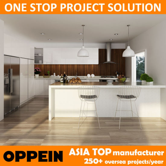 China OPPEIN Australia Project White Lacquer Built-in Wooden Kitchen ...
