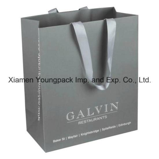 Custom Grey Ribbon Handle Art Paper Packaging Bag For Gift