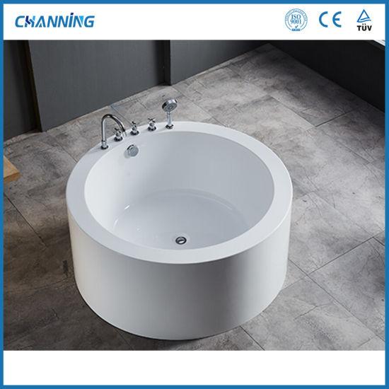 Channing Modern Round Hot Tub High Quality Acrylic Freestanding Tubs Deep Soaking Bathtub (QT-Y001)