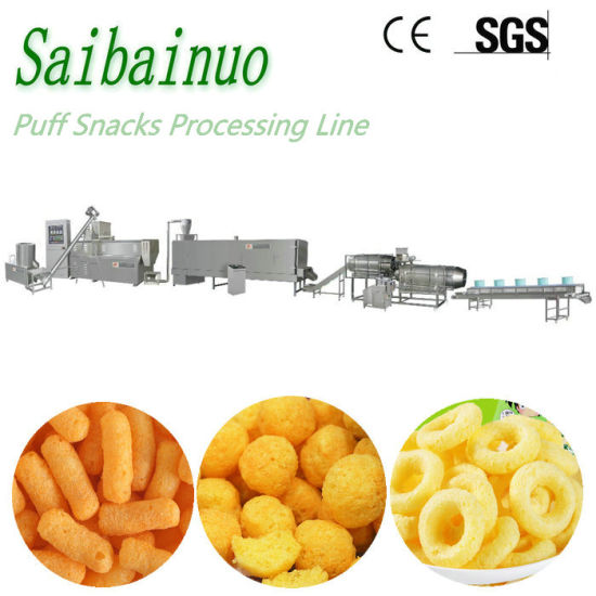 New Technology Cheese Balls Corn Puff Snacks Chips Making Machine Plant Pillow Core Filling Snacks Food Production Line