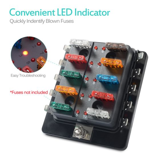 blade fuse box china led illuminated automotive blade fuse holder box 10 circuit  automotive blade fuse holder