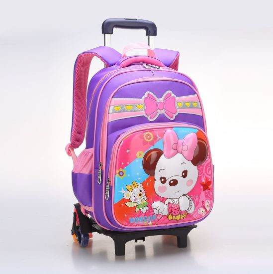 Rolling Wheeled Trolley Double Shoulder Student Schoolbag Child Children  School Backpack Pack Bag with 6 Wheels (CY9860)