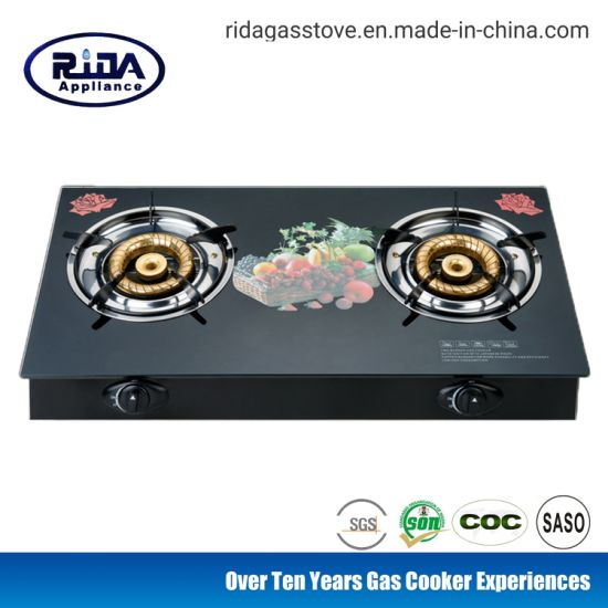 Tempered Glass Double Burner Steel Cap Home Appliance Gas Cooker