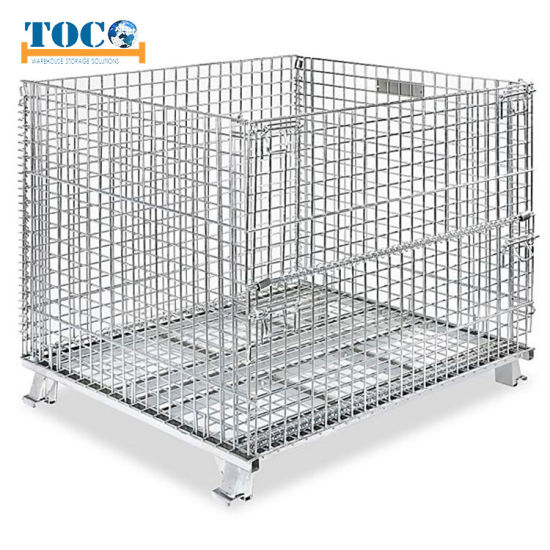 Customized Color Storage Rack Container Metal Wire Mesh Container