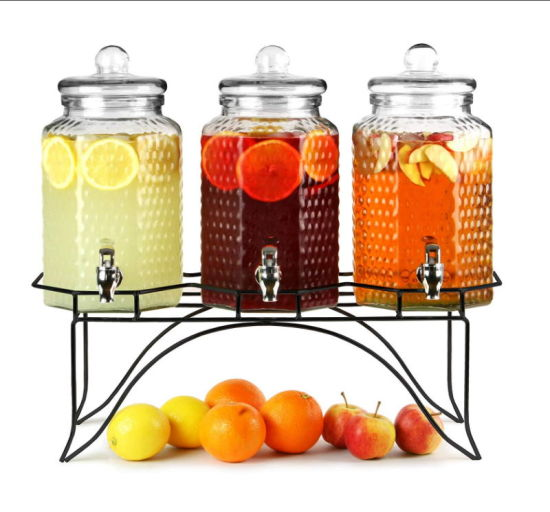 3PCS Glass Beverage Dispenser with Metal Frame and ABS Faucet pictures & photos