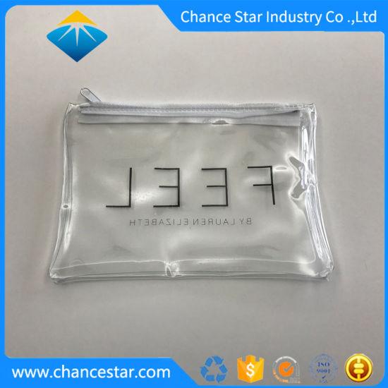 Custom Black Color Printing Plastic Transparent PVC Zipper Bag