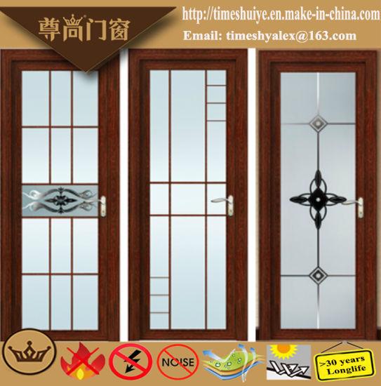 China Lattice Bar Decoration Glass Panel Aluminium Door For House