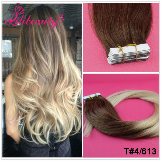 100% Indian Remy Hair Seamless PU Skin Weft Hair Extensions #Lila pictures & photos