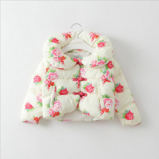 Printed Flower Girl Children Coat for Winter Clothes pictures & photos