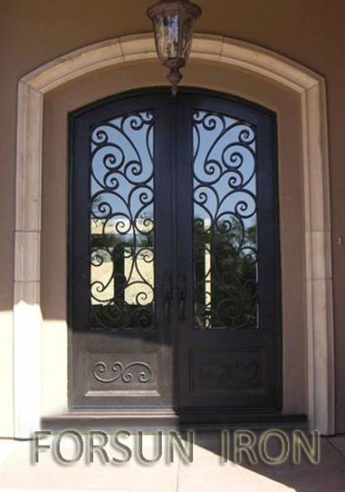 High Quality Customized Eyebrow Arch Top Wrought Iron Double Entry Door Entrance Door