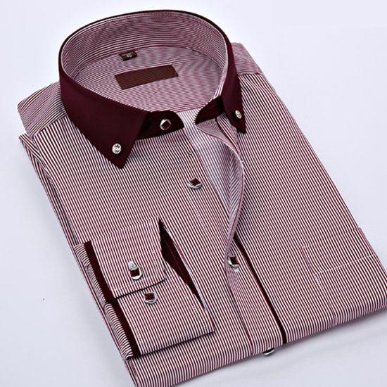 d028da771 Mens Stripes Long Sleeve Collar Stand - up Collar Shirt pictures & photos
