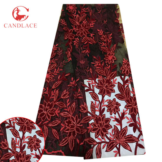 Red Color Flower Velvet Embroidered Tulle Lace with Glitter for Dress pictures & photos