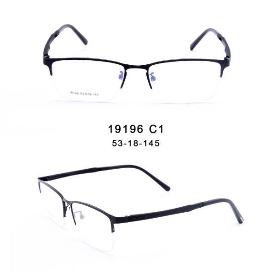 Ready Stock Classic Semi-Rimless Square Metal Eye Optical Glasses Frame