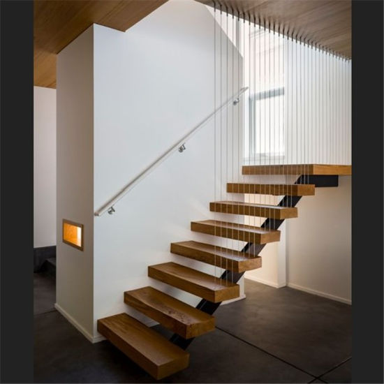 Single Steel Beam Solid Wood Straight Staircase /Double Beam Wooden Stair  With Glass Railing