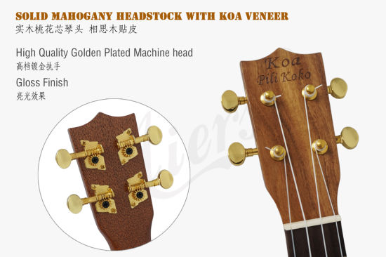 Koa Pili Koko 21 Inch Abalone Binding Solid Koa Pineapple Ukulele pictures & photos