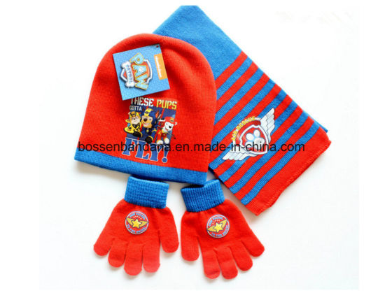 China Factory OEM Produce Customized Logo Kids Acrylic Knitted Jacquard Beanie Scarf Gloves Set pictures & photos