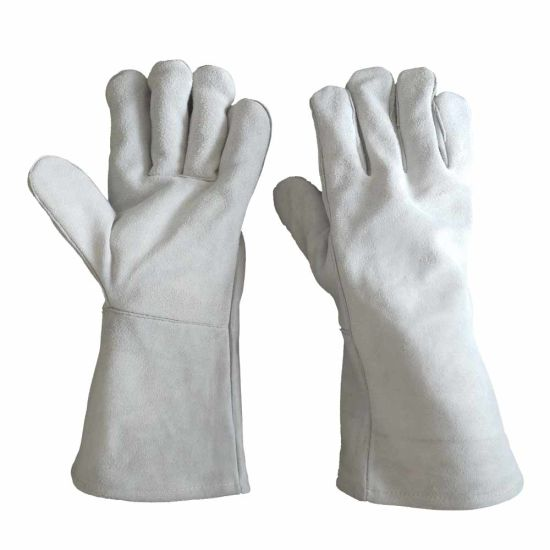 Grey Cow Split Leather Safety Wholesale Industry Leather Work Welder Gloves