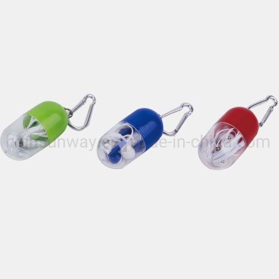 Earphone Headphone in Carabiner Pill Shape Case for Promotion Gift