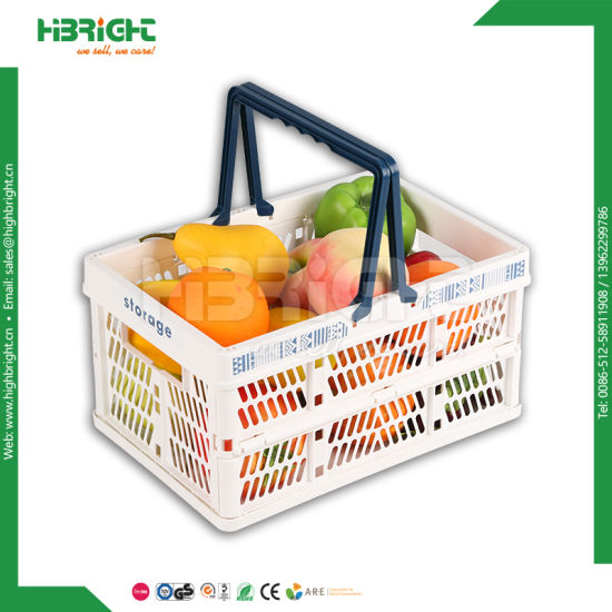 Foldable Plastic Crate Vegetable Storage Folding Ping Baskets With Handles Pictures Photos