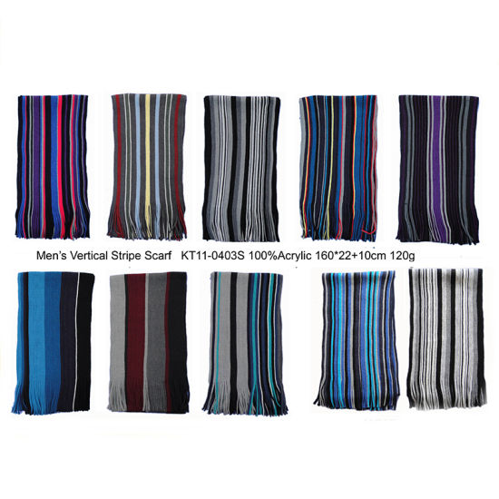 Men Winter Fashion Knitting Multi Colour Vertical Stripe Scarf