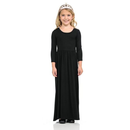2018 Hot Sell Pure Color Children Maxi Dress