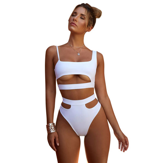 New Sexy Swimwear Hollow High Waist Bikini Black White Fashion Girls Summer Holilday Beach Wear Siwmwear