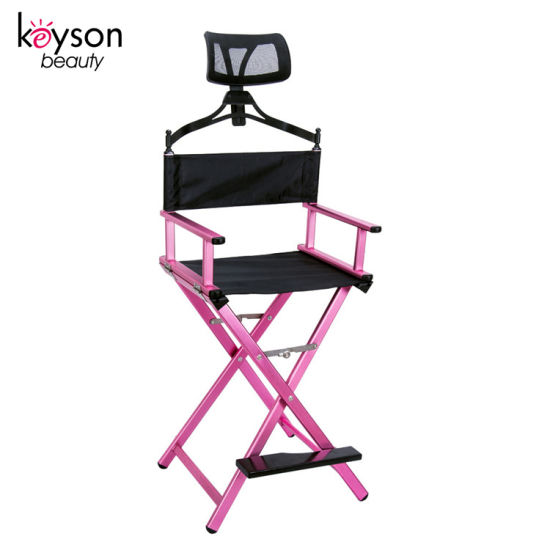 2019 New Fashion Professional Aluminum Folding Makeup Chair with Headrest