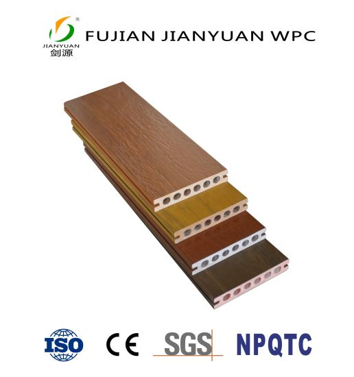 ASA-PVC Co-Extrusion Hollow Wood Plastic Composite WPC Outdoor Flooring Decking
