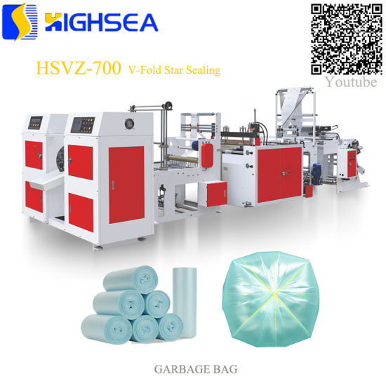 Fully Automatic One Line HDPE LDPE Plastic Coreless 2 Times V Fold Bag on Roll Making Machine pictures & photos