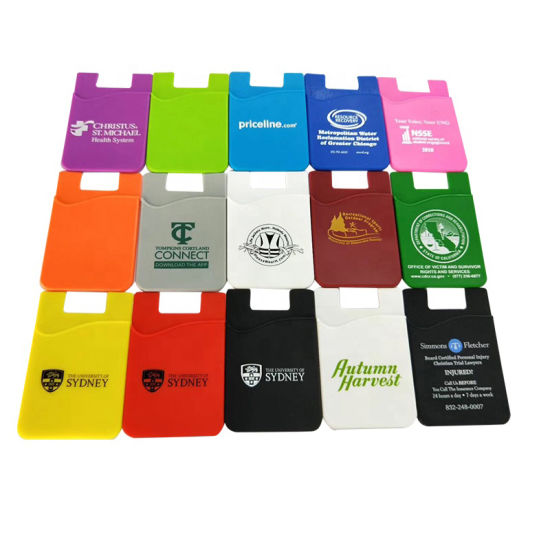 Custom Silicone Card Holder 3m Adhesive PVC Stick-on Credit Soft Silicon Sticky Credit Cell Phone Card Holder