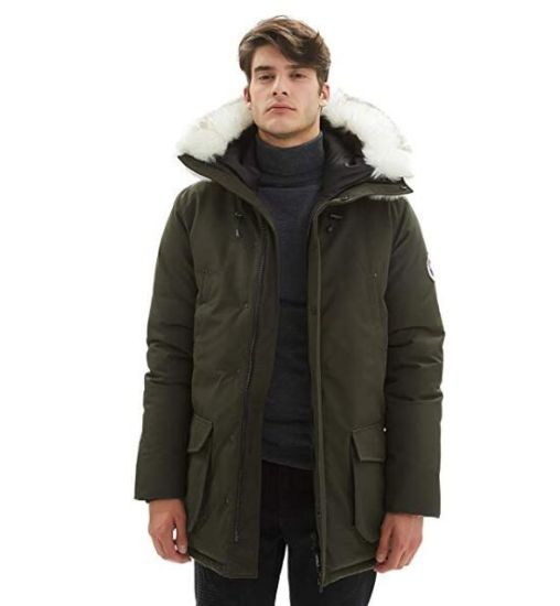 Men's Insulated Expedition Mountain Thicken Lined Fur Hooded Long Anorak Parka Padded Jacket