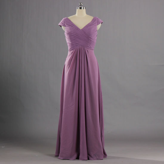 E633 Unique V Neck Cap Sleeve Bridesmaid Dresses Long Evening Gown