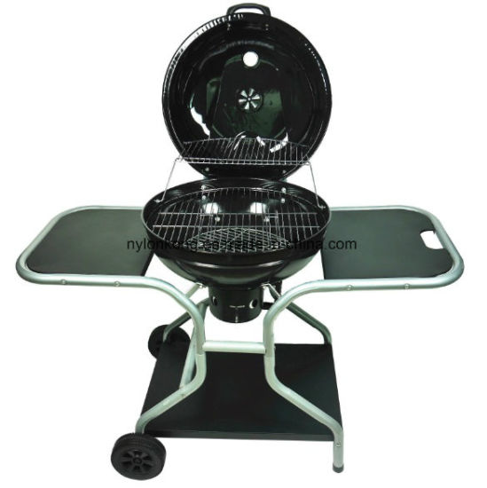22 5 Outdoor Charcoal Bbq Grill With Food Platform Enamel Le Wheels Round Cart