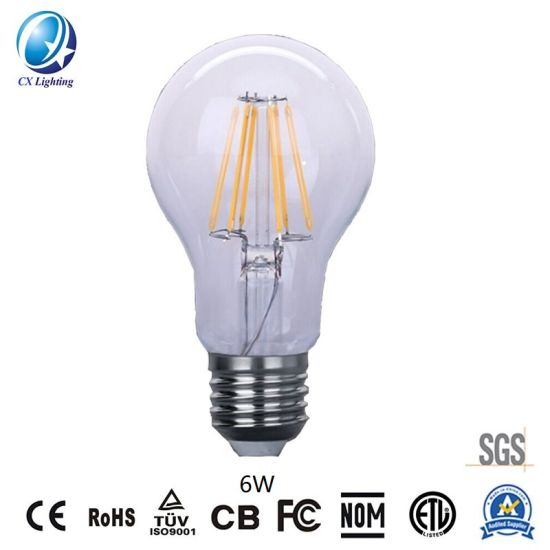 LED Filament Bulb A60 6W E27/B22 720lm Restaurant Light Ce RoHS, EMC, LVD