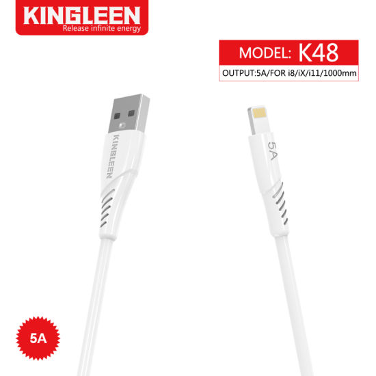 USB-iPhone to USB 5.0 Cable (3FT) Quick Charge Super Fast 5A Output 1-Meter Lighting Data Cable for iPhone X/11/12