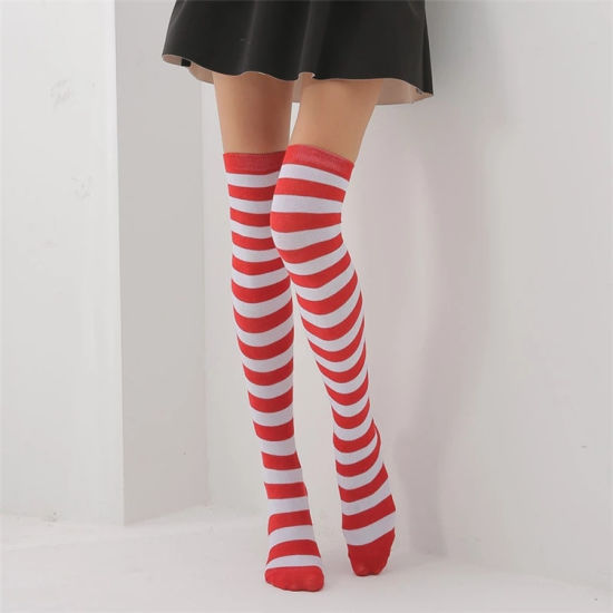 a4e6266b7 Wholesale Sexy Girl Red and White Striped Cotton Over Knee Socks Fashion  Stockings Cheap Thigh High Stocking for Women